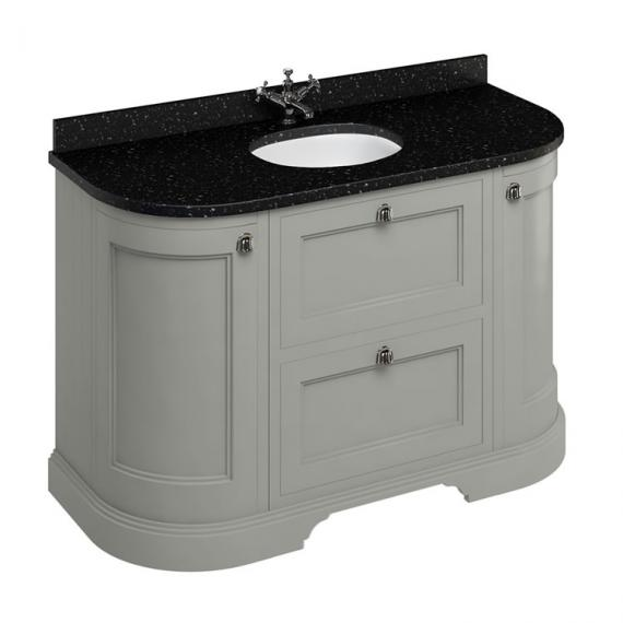Burlington Olive 1340mm Curved Vanity Unit With Doors & Drawers, Worktop & Basin - Image 3