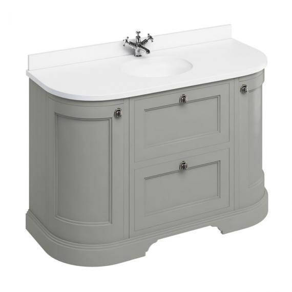 Burlington Olive 1340mm Curved Vanity Unit With Doors & Drawers, Worktop & Basin - Image 5