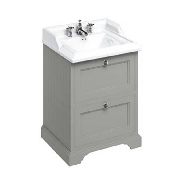 Burlington Olive 670mm Freestanding Vanity Unit With Drawers & Classic Basin 3 tap hole