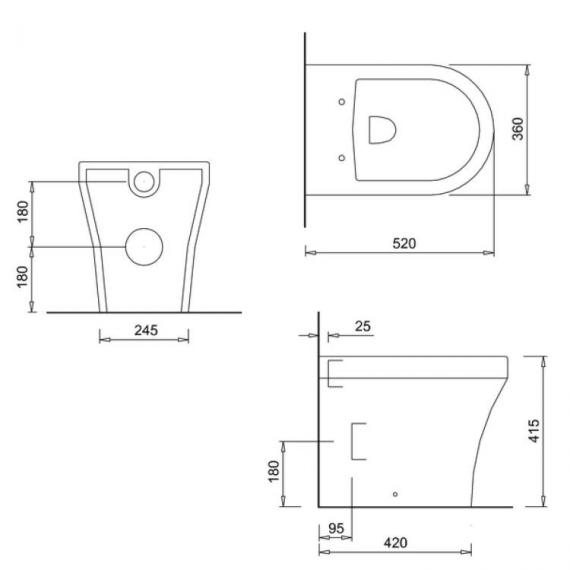 Britton Fine Back To Wall Pan & Soft Close Angled Seat - Spec