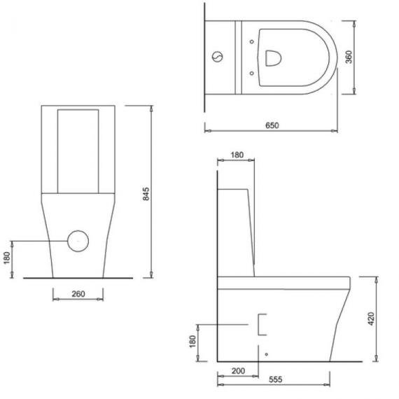 Britton Fine Close Coupled Back To Wall WC, One Piece Cistern & Seat - Spec
