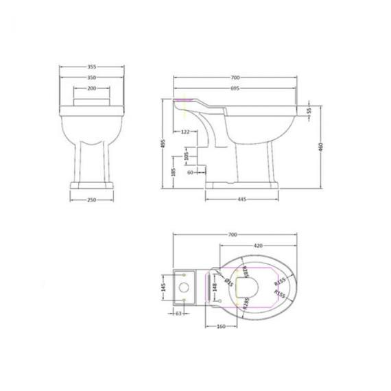 Bayswater Fitzroy Comfort Height Close Coupled Toilet Cistern Victorian Bathrooms 4 U