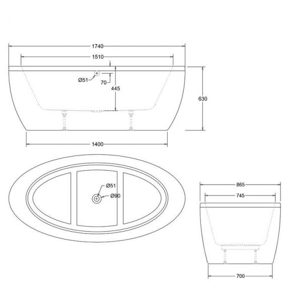 Cleargreen Freefuerte Double Ended Freestanding Bath Specification