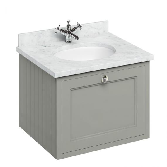 Burlington Olive 650mm Wall Hung Vanity Unit With Worktop & Basin - Image 5