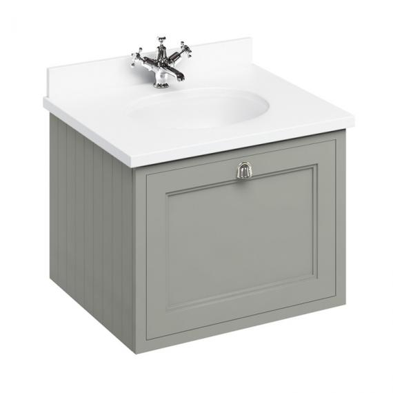 Burlington Olive 650mm Wall Hung Vanity Unit With Worktop & Basin