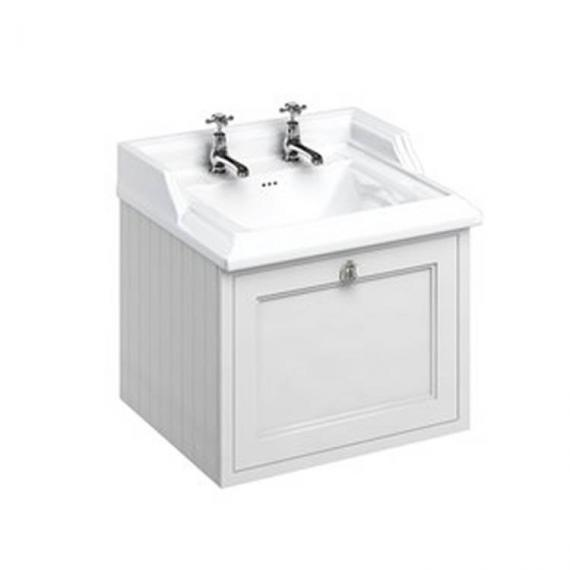 Burlington Matt White 650mm Wall Hung Vanity Unit & Classic Basin - Image 2