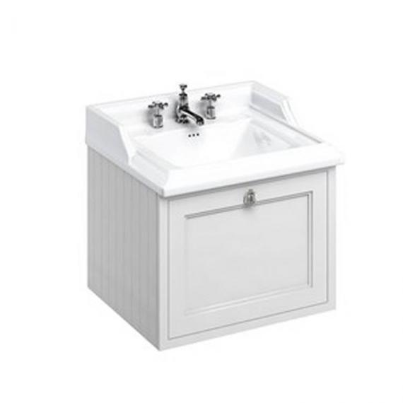 Burlington Matt White 650mm Wall Hung Vanity Unit & Classic Basin- Image 3