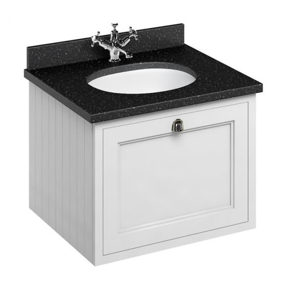 Burlington Matt White 650mm Wall Hung Vanity Unit With Worktop & Basin - Image 3