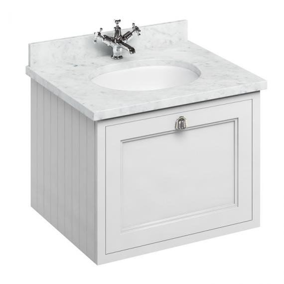 Burlington Matt White 650mm Wall Hung Vanity Unit With Worktop & Basin - Image 5