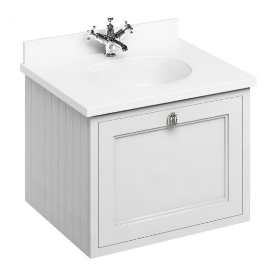Burlington Matt White 650mm Wall Hung Vanity Unit With Worktop & Basin