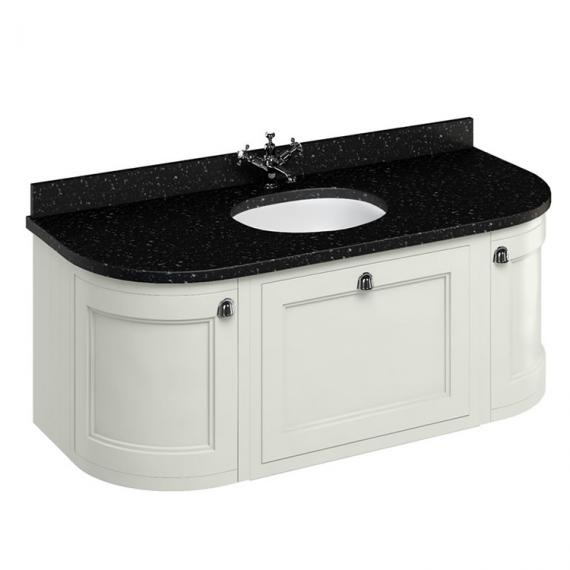 Burlington Sand 1340mm Wall Hung Curved Vanity Unit, Worktop & Basin - Image 3