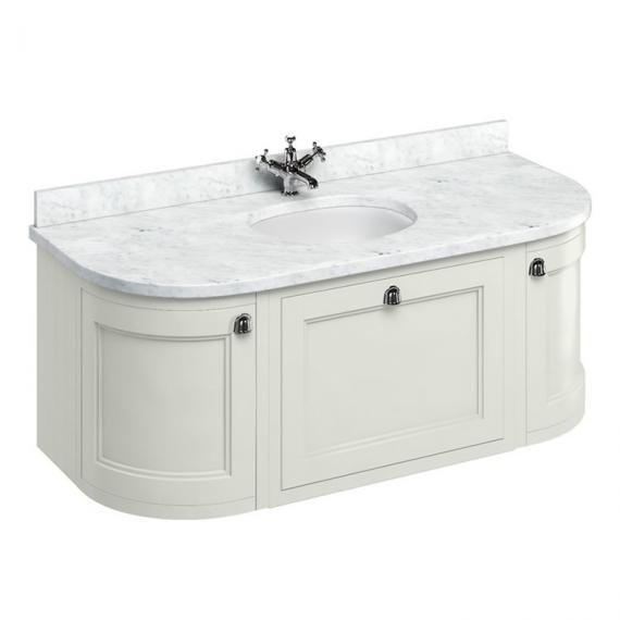 Burlington Sand 1340mm Wall Hung Curved Vanity Unit, Worktop & Basin - Image 5