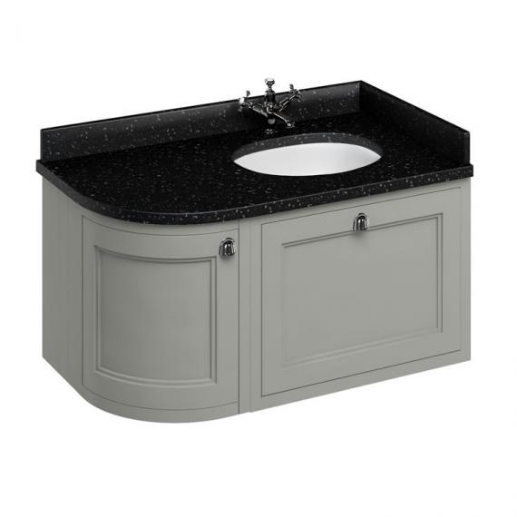 Burlington Olive 1000mm Wall Hung Curved Vanity Unit, Worktop & Basin - Right Hand - Image 5