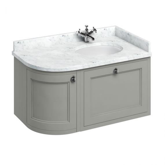 Burlington Olive 1000mm Wall Hung Curved Vanity Unit, Worktop & Basin - Right Hand - Image 3