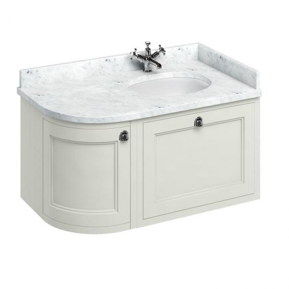 Burlington Sand 1000mm Wall Hung Curved Vanity Unit, Worktop & Basin - Right Hand - Image 5