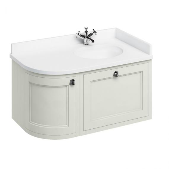 Burlington Sand 1000mm Wall Hung Curved Vanity Unit, Worktop & Basin - Right Hand