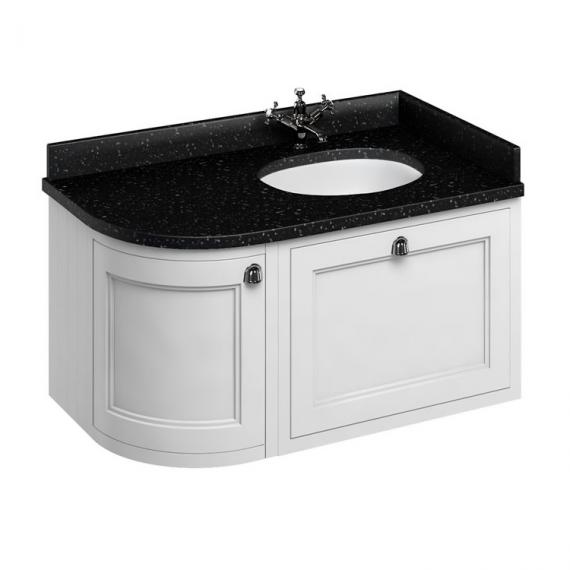 Burlington Matt White 1000mm Wall Hung Curved Vanity Unit, Worktop & Basin - Right Hand - Image 3