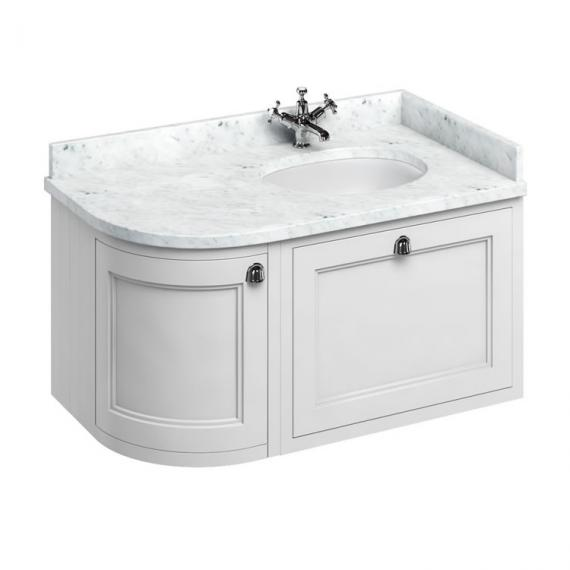 Burlington Matt White 1000mm Wall Hung Curved Vanity Unit, Worktop & Basin - Right Hand - Image 5