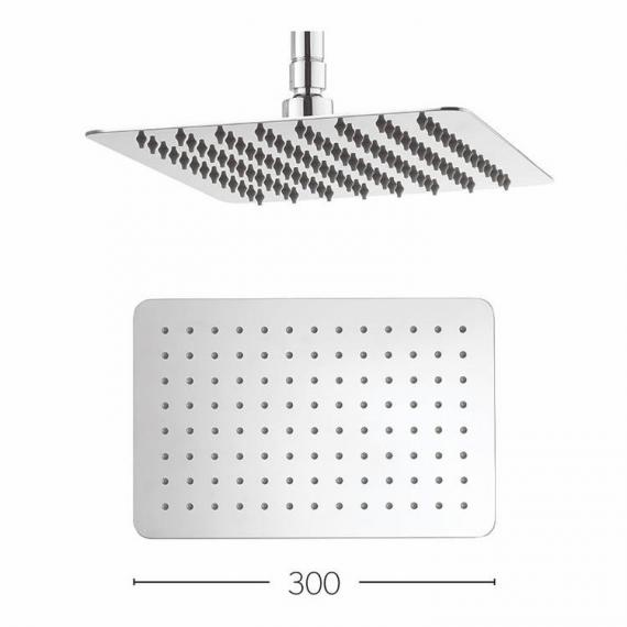 Crosswater Glide Rectangle 300mm Fixed Shower Head Specification