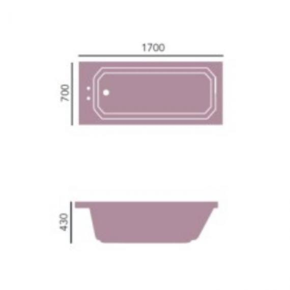 Heritage Granley Deco 1700 x 700mm Single Ended Bath Specification