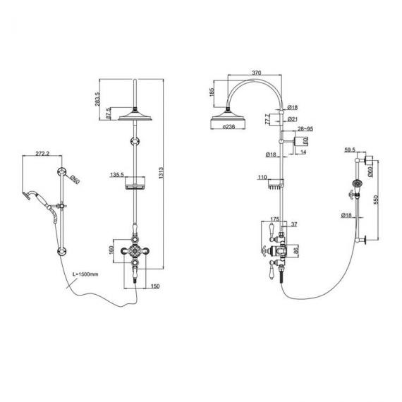 Burlington Avon Exposed Thermostatic Shower Valve, Rigid Riser, 9