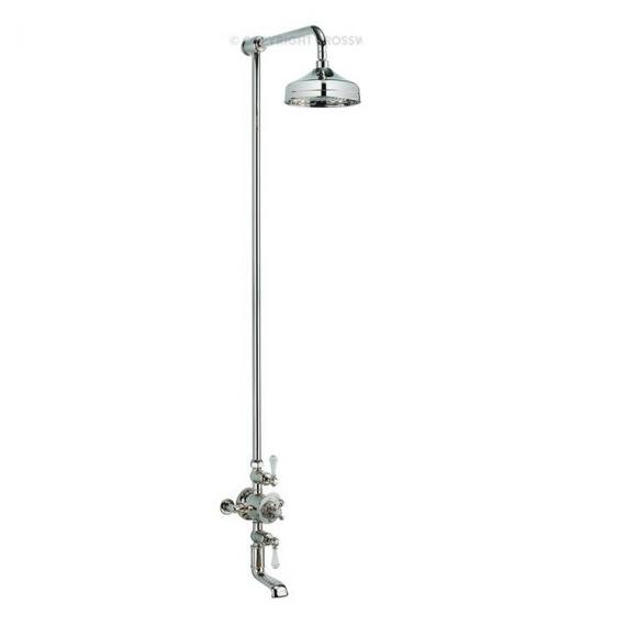 Crosswater Belgravia Nickel Bath Shower Mixer With Fixed Head