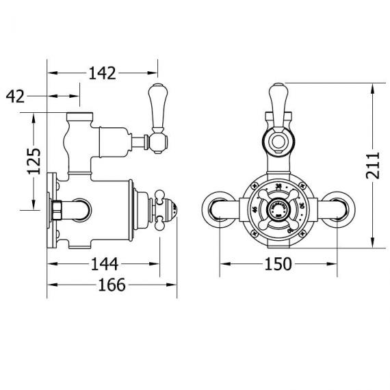 Crosswater Belgravia Nickel Exposed Thermostatic Shower Valve Specification
