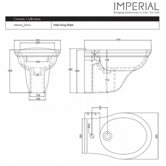 Imperial Drift Wall Hung Bidet Specification