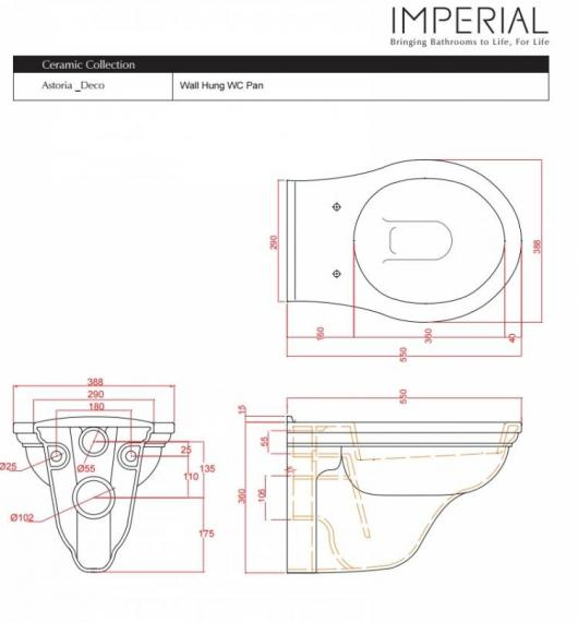 Imperial Astoria Deco Wall Hung Toilet Specification