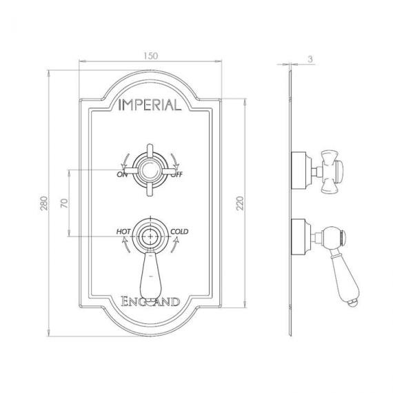 Imperial Oxford Shower Valve With Edwardian and Regent Controls Specification