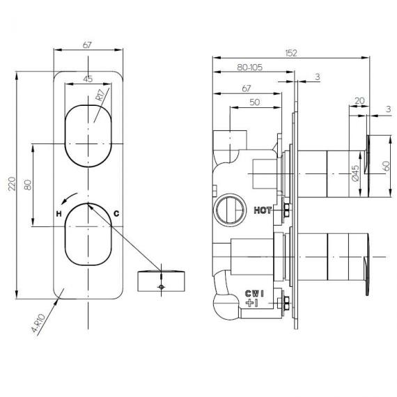 Crosswater Kelly Hoppen Zero 2 Thermostatic Shower Valve Specification