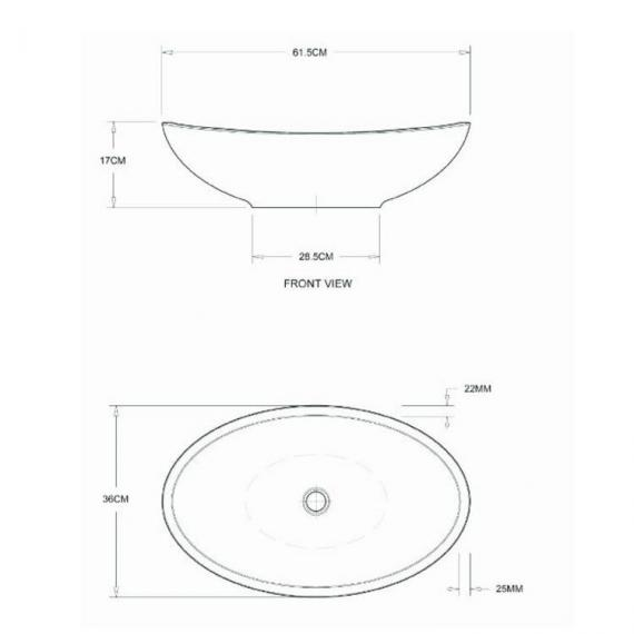 BC Designs Kurv Cian Solid Surface Basin Specification