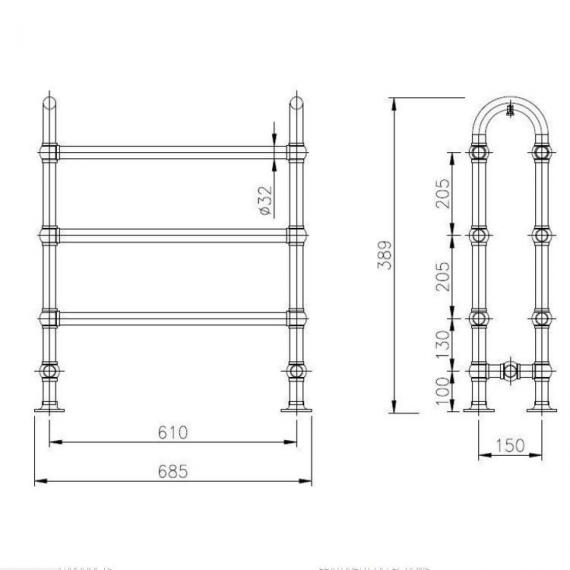 Hudson Reed Adelaide Heated Towel Rail Specification