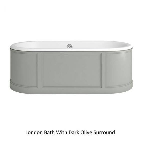 Burlington London Round 1800mm Bath With Curved Surround - Dark Olive