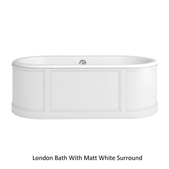 Burlington London Round 1800mm Bath With Curved Surround - White