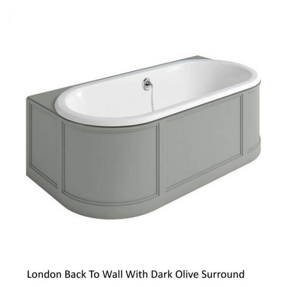 Burlington London Back To Wall Bath With Curved Surround dark olive