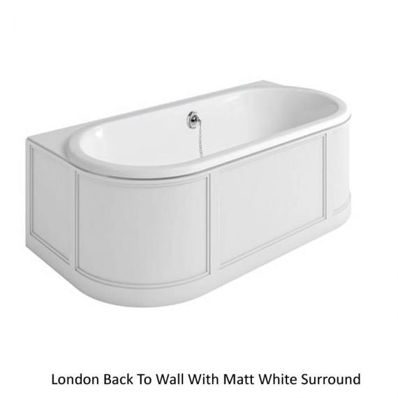 Burlington London Back To Wall Bath With Curved Surround matt white
