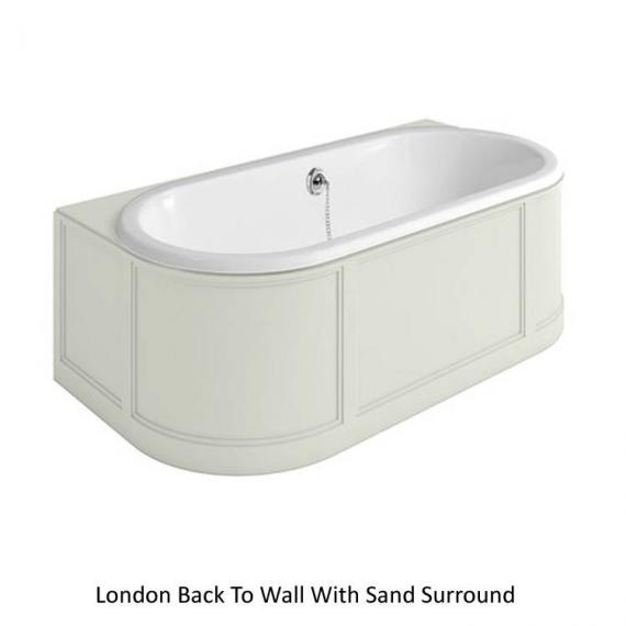 Burlington London Back To Wall Bath With Curved Surround sand
