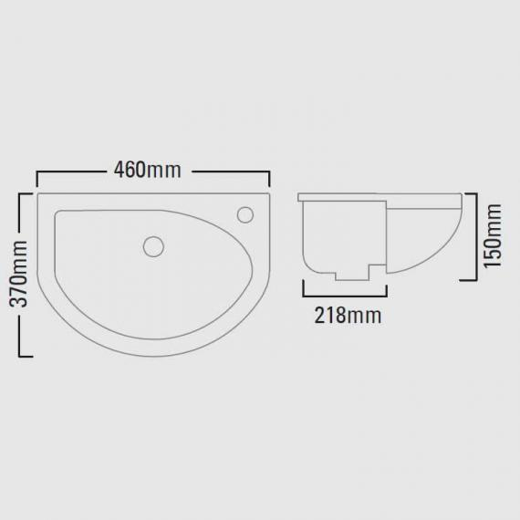 Roper Rhodes Minerva 460mm Slim Depth Semi Countertop Basin - Spec