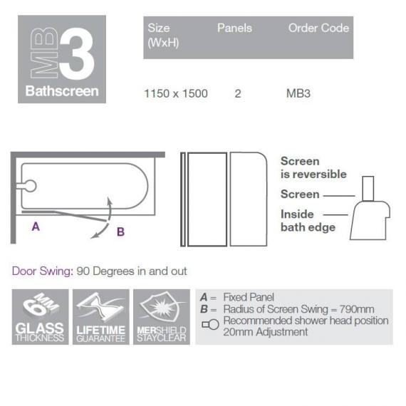 Merlyn MB3 Two Panel Curved Bath Screen Specification