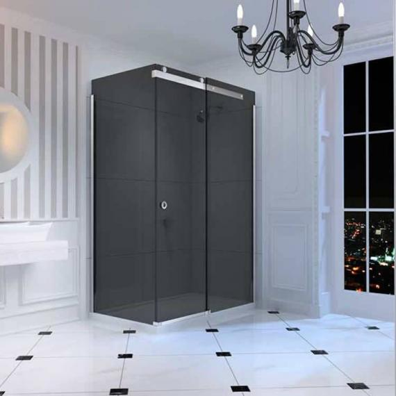 Merlyn 10 Series Sliding Shower Door - Smoked Black Glass