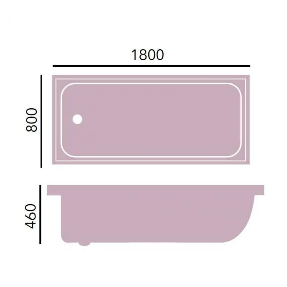 Heritage Victoria 1800 x 800mm Acrylic Super Deep Bath Specification