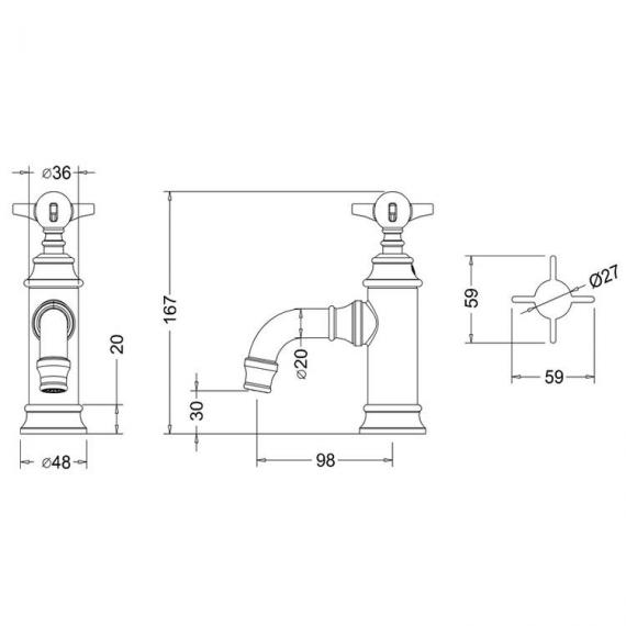 Arcade Chrome Mini Mono Basin Mixer Specification