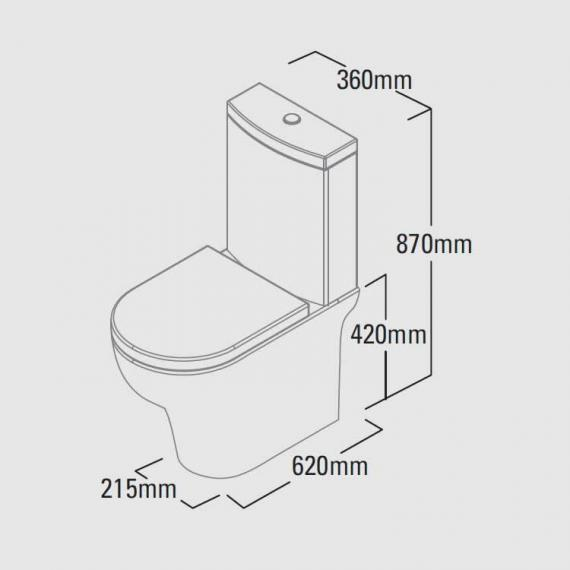 Roper Rhodes Note Close Coupled WC, Cistern & Soft Close Seat - Spec