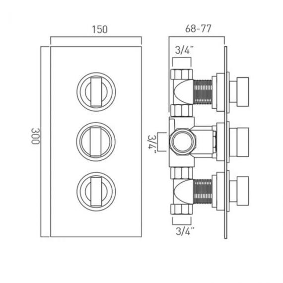 Vado Notion Twin Outlet 3 Control Thermostatic Shower Valve Specification