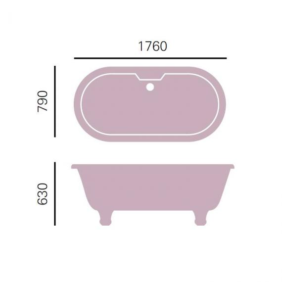 Heritage Oban Roll Top Double Ended Freestanding Bath & Feet Specification