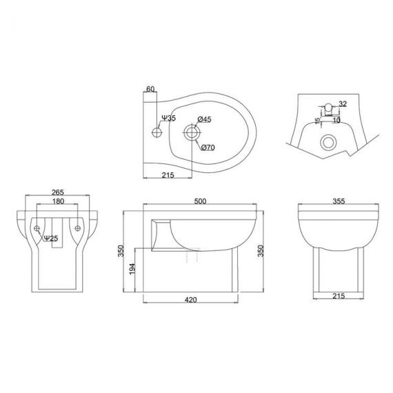 Burlington Wall Hung Bidet - Spec