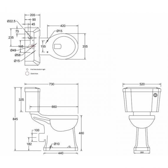 Burlington Regal Close Coupled Toilet With Front Button spec