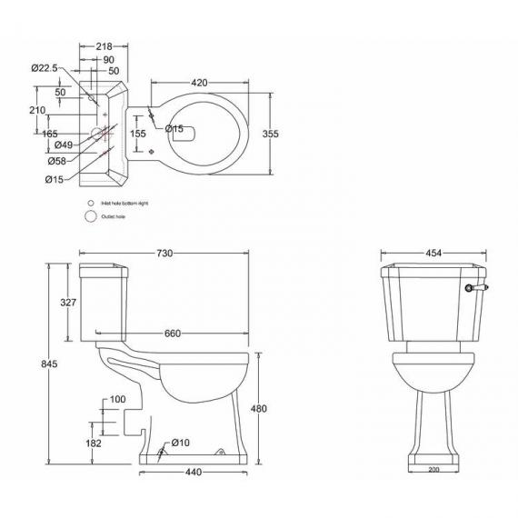 Burlington Regal Slimline Close Coupled Toilet With Lever Handle spec
