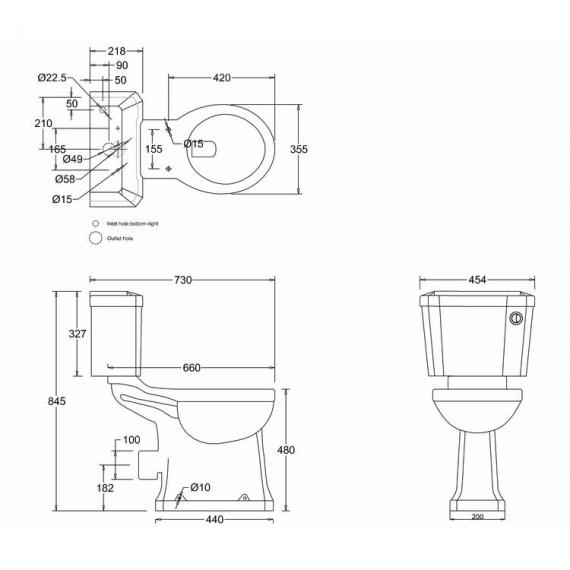 Burlington Regal Slimline Close Coupled Toilet With Front Button spec